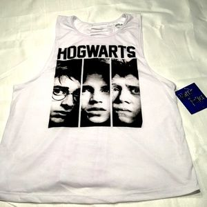 Hogwarts White Tank Top with Cutout Design, XL